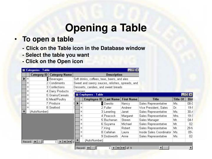 Opening a Table