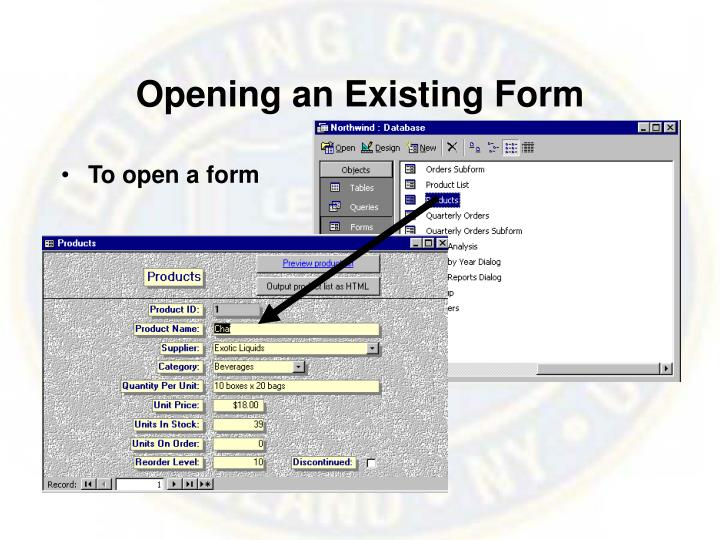 Opening an Existing Form