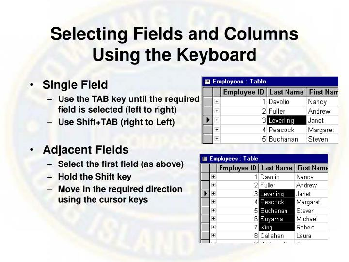Selecting Fields and Columns