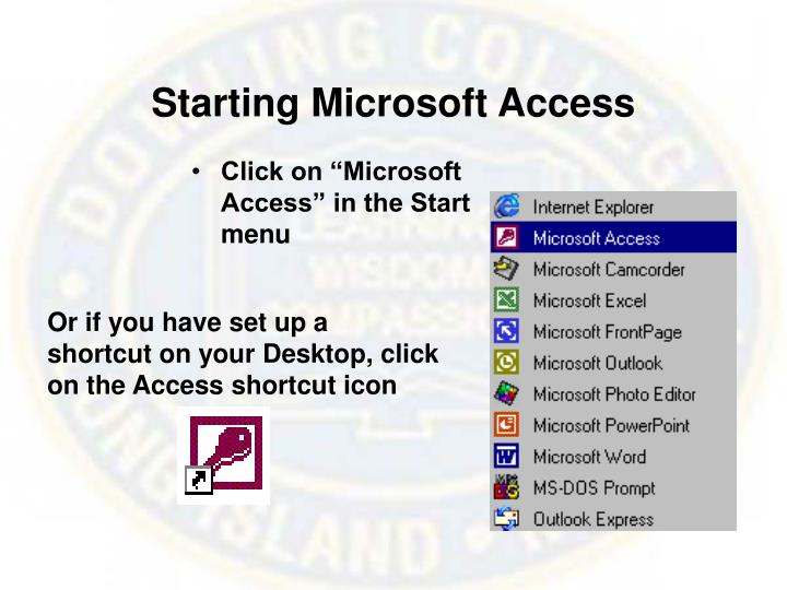 Starting Microsoft Access