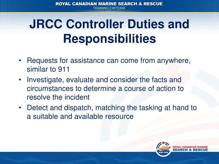 JRCC Controller Duties and Responsibilities