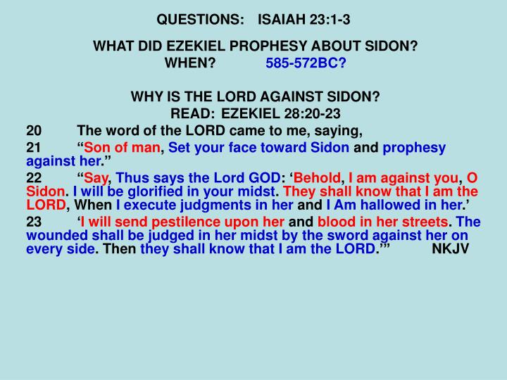 QUESTIONS:ISAIAH 23:1-3