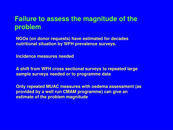 Failure to assess the magnitude of the problem