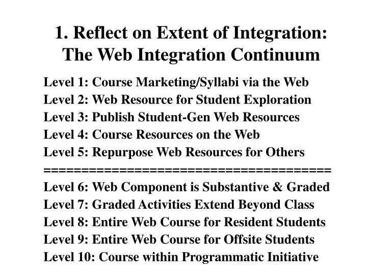 1. Reflect on Extent of Integration: