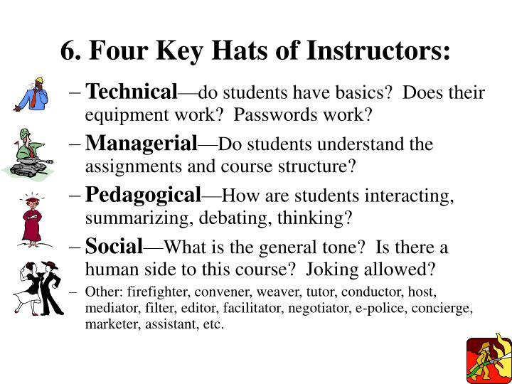 6. Four Key Hats of Instructors: