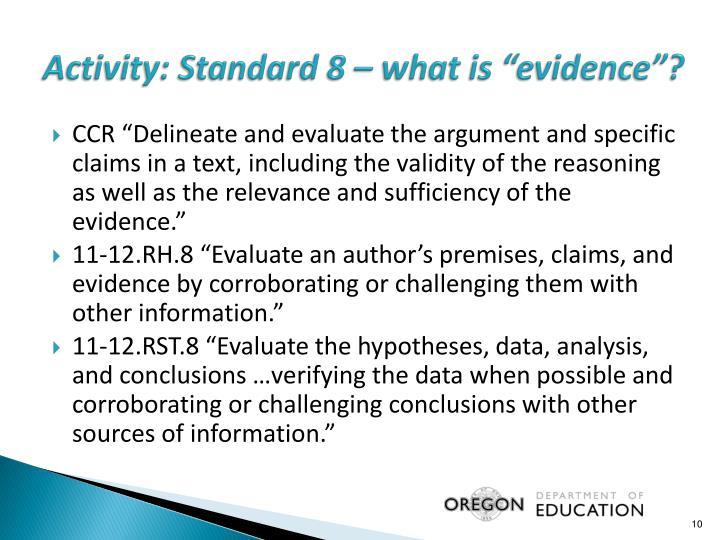 """Activity: Standard 8 – what is """"evidence""""?"""