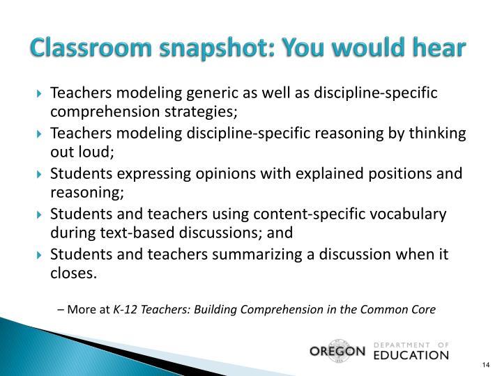 Classroom snapshot: You would hear