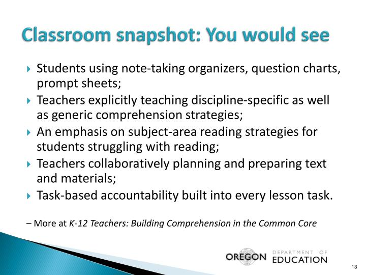 Classroom snapshot: You would see