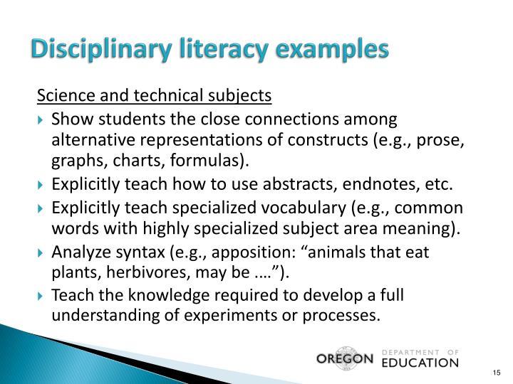 Disciplinary literacy examples