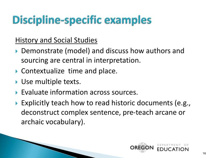 Discipline-specific examples