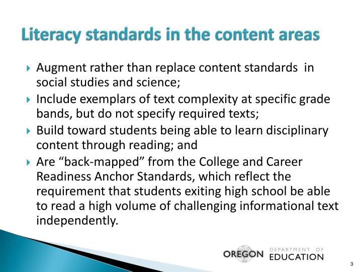 Literacy standards in the content areas