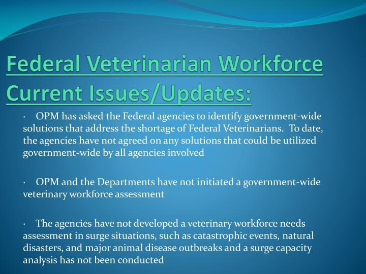 Federal Veterinarian Workforce