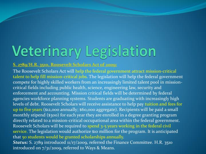 Veterinary Legislation