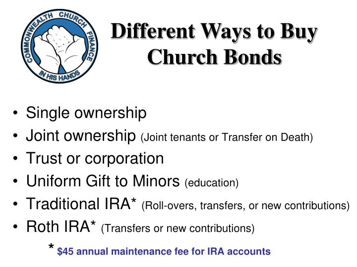 Different Ways to Buy Church Bonds