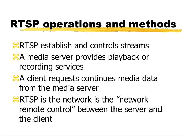 RTSP operations and methods