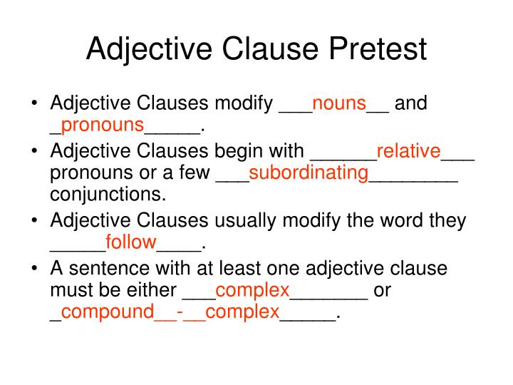 how to know adjective clause