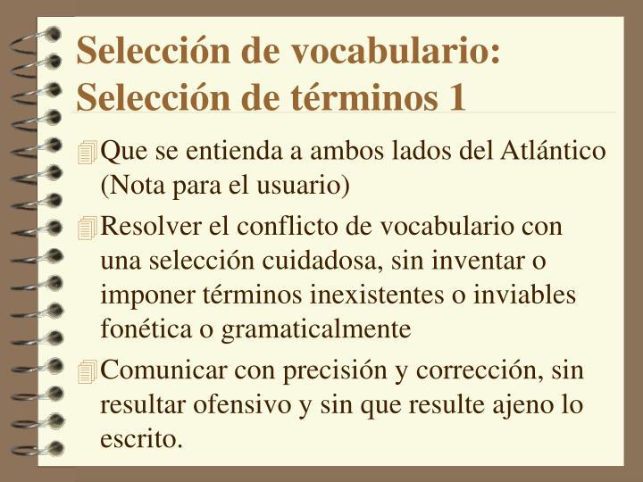 Selección de vocabulario: