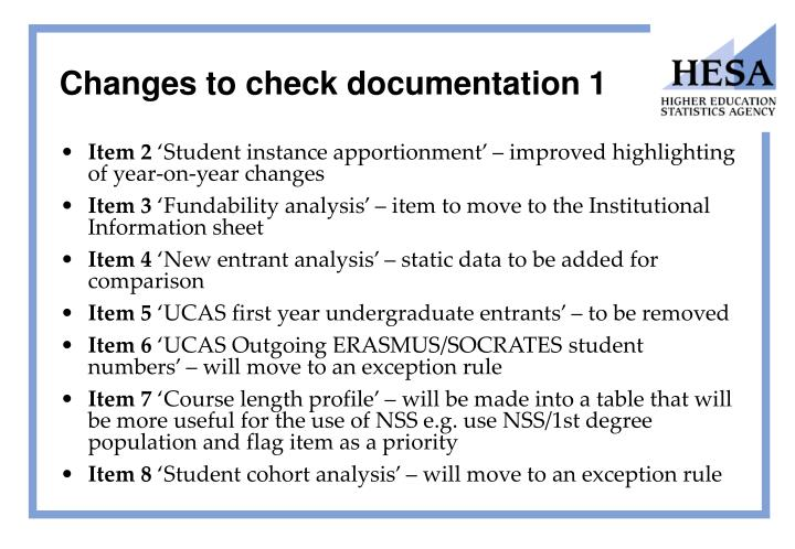 Changes to check documentation 1