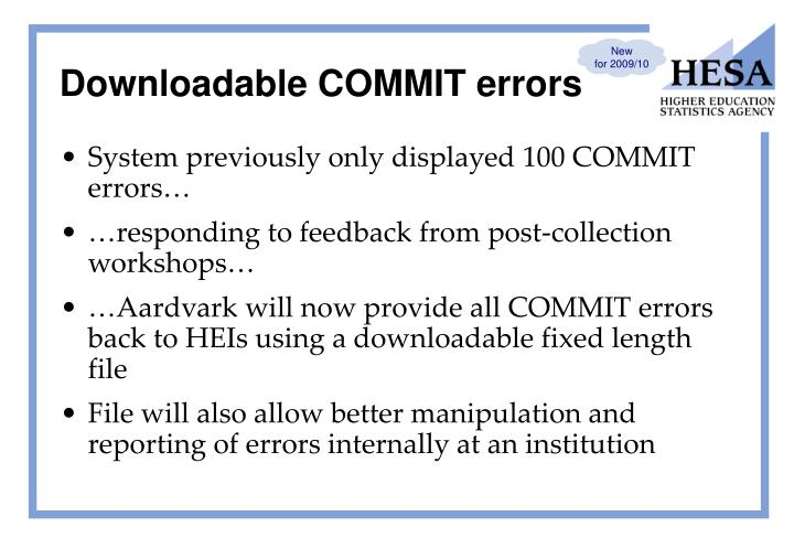Downloadable COMMIT errors