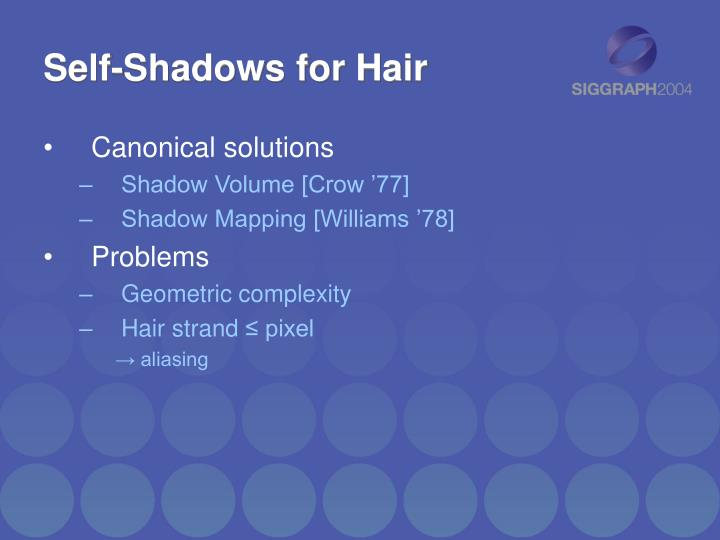 Self-Shadows for Hair