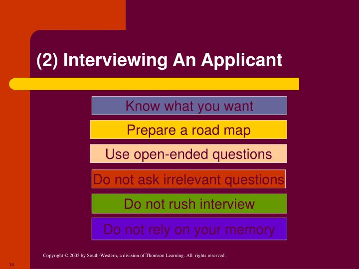 (2) Interviewing An Applicant