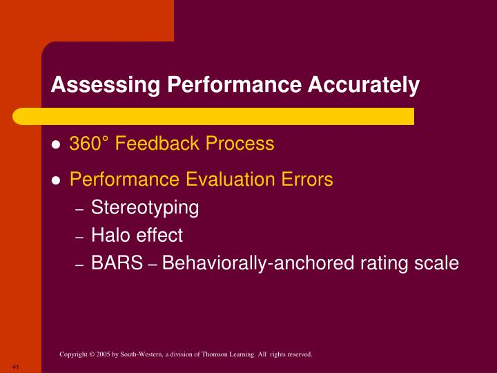 Assessing Performance Accurately