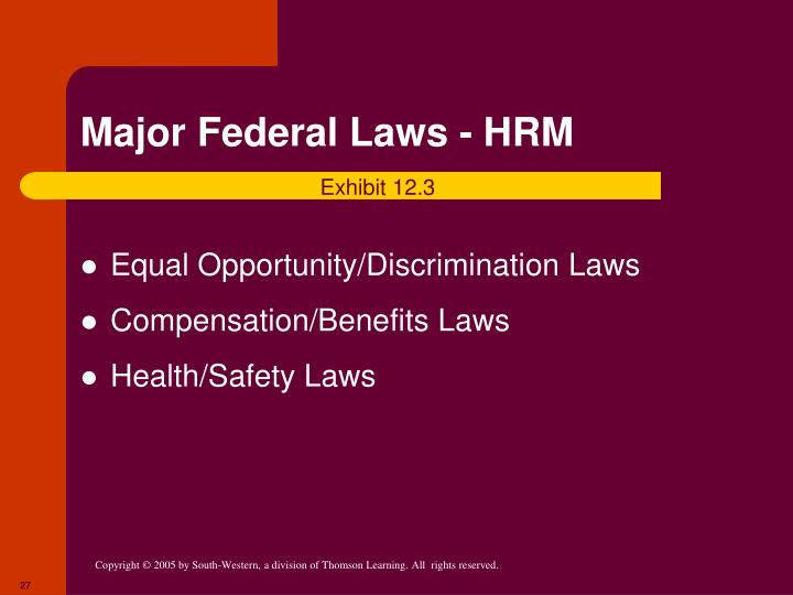 Major Federal Laws - HRM