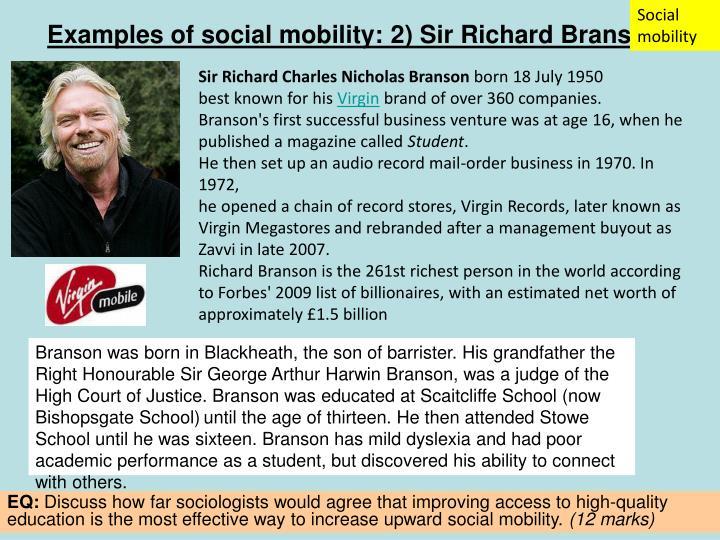 Examples of social mobility: 2) Sir Richard Branson