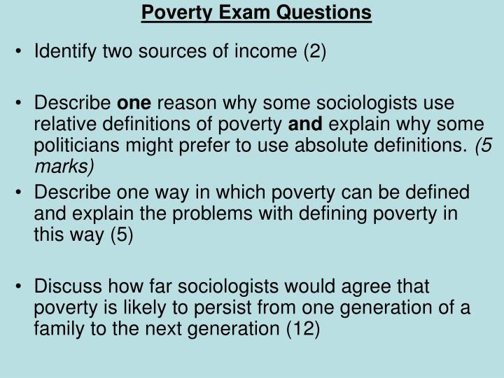 Poverty Exam Questions