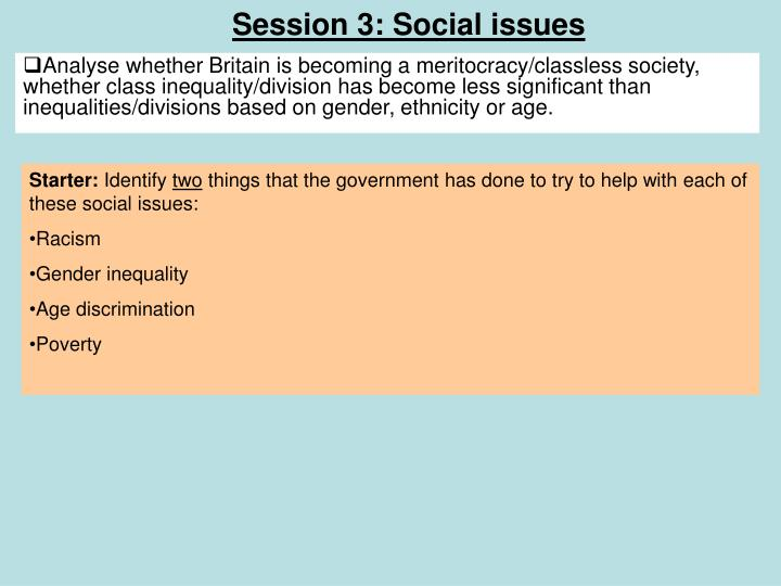 Session 3: Social issues