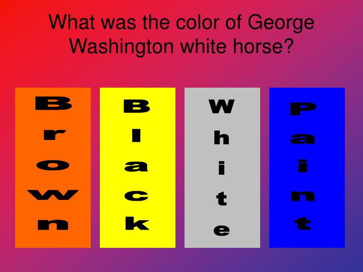What was the color of George Washington white horse?