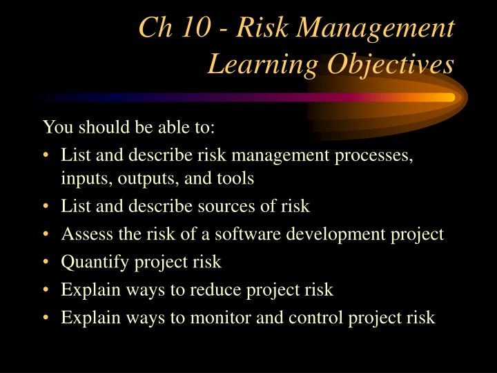 ch 10 risk management learning objectives n.