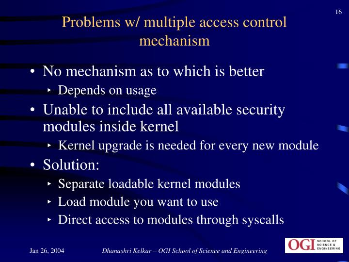 Problems w/ multiple access control mechanism