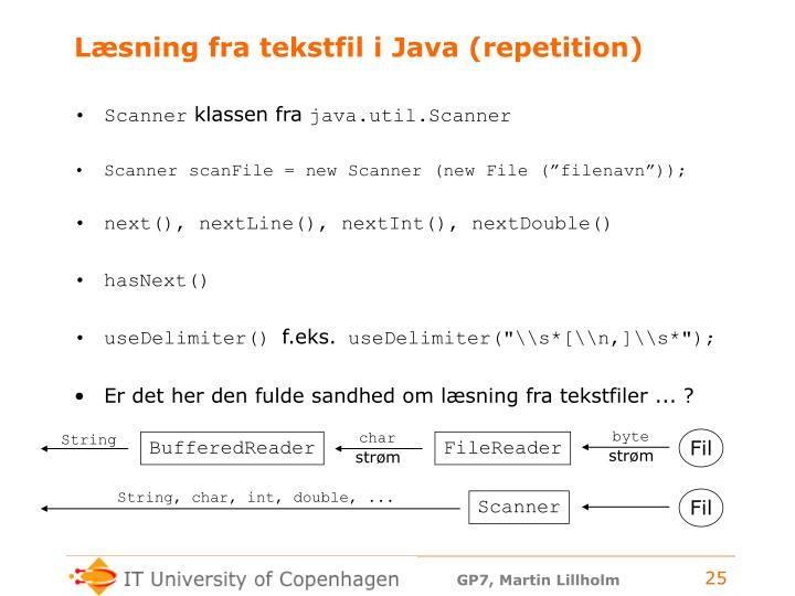 Læsning fra tekstfil i Java (repetition)