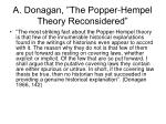 a donagan the popper hempel theory reconsidered