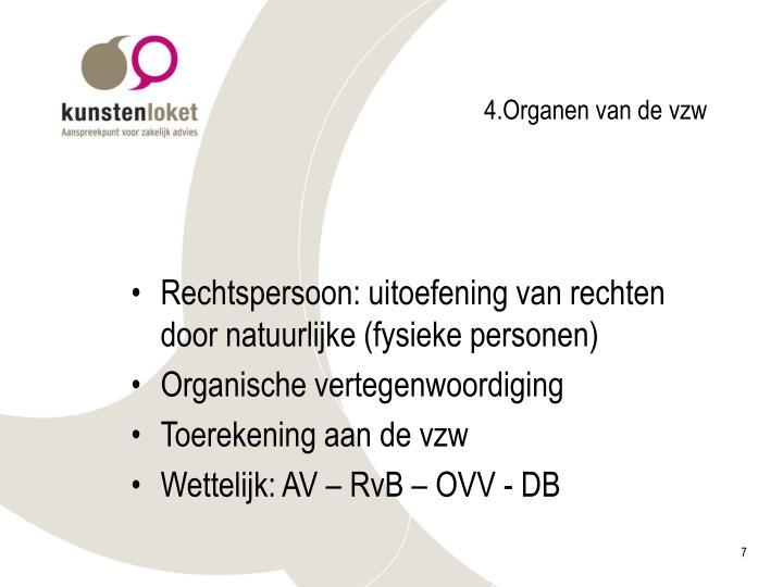 4.Organen van de vzw
