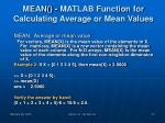 mean matlab function for calculating average or mean values
