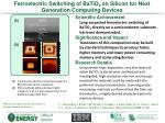 ferroelectric switching of batio 3 on silicon for next generation computing devices
