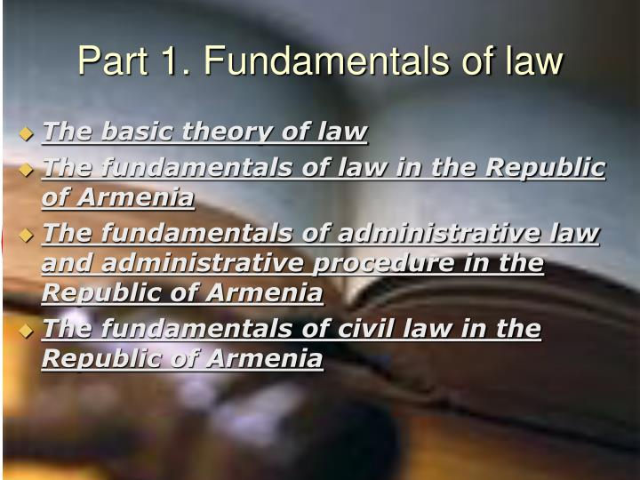 Part 1. Fundamentals of law