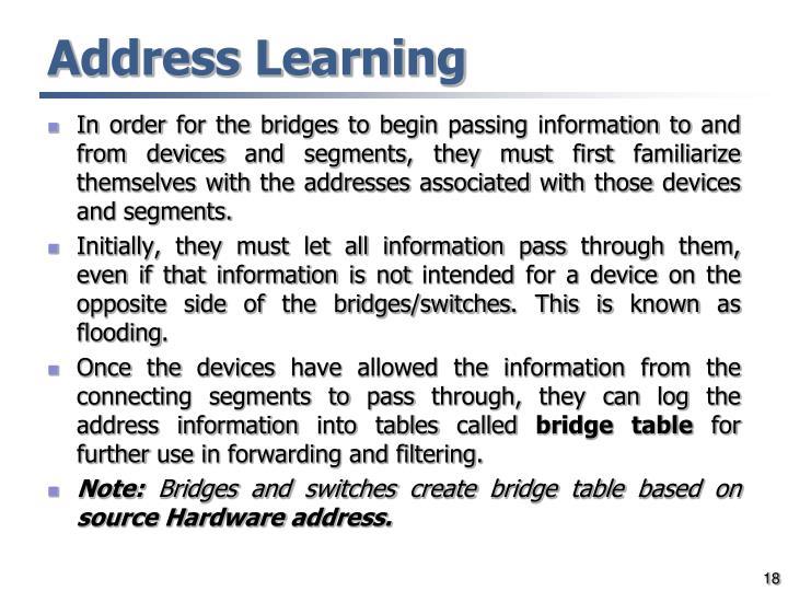 Address Learning