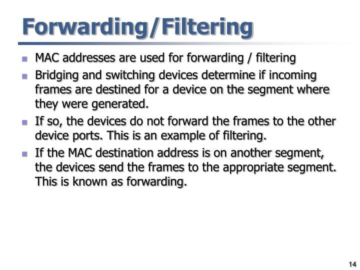 Forwarding/Filtering