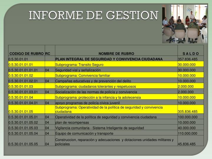INFORME DE GESTION