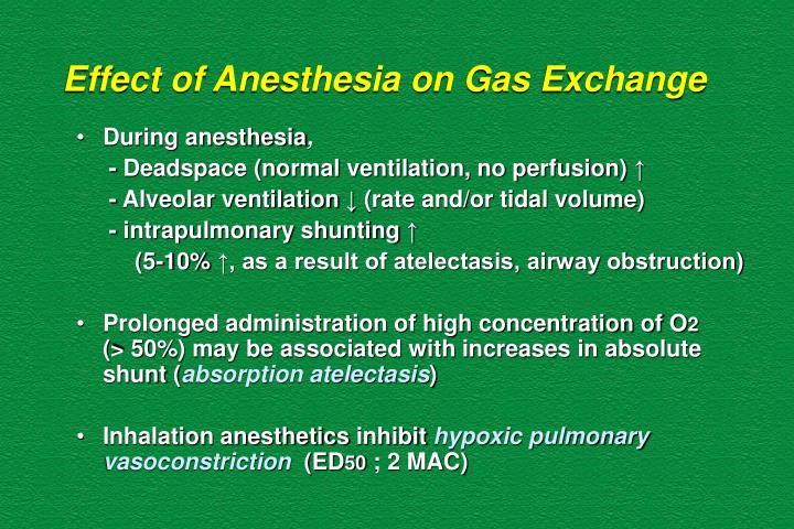Effect of Anesthesia on Gas Exchange