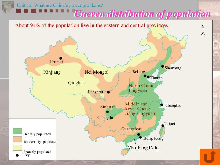 About 94% of the population live in the eastern and central provinces.