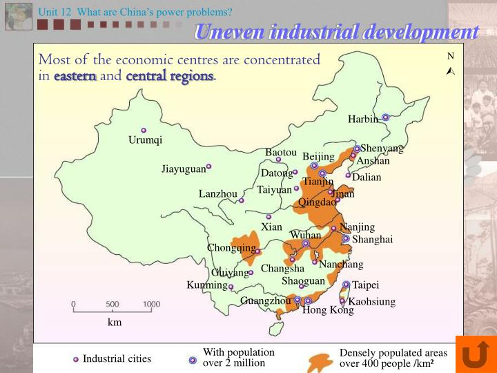 Most of the economic centres are concentrated in
