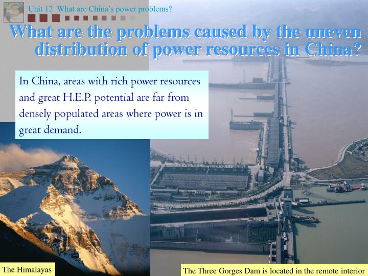 What are the problems caused by the uneven distribution of power resources in china