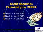 grant deadlines financial year 2002 3