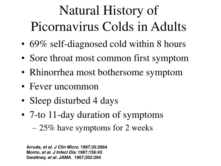 Natural history of picornavirus colds in adults