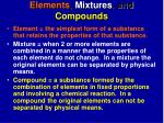 elements mixtures and compounds