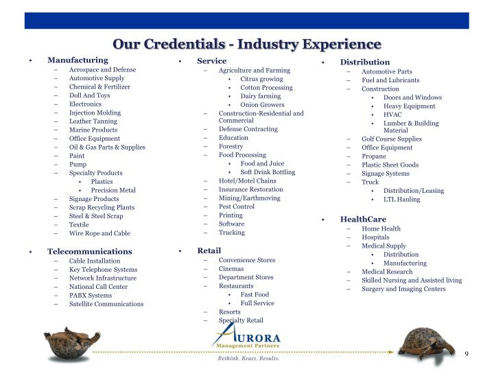 Our Credentials - Industry Experience